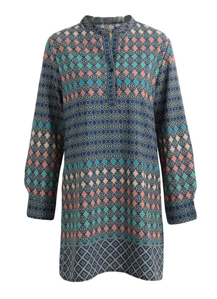 ff529bd0c2303a Le nuove donne del mini vestito vintage Geometria Stampa collare del  basamento Maniche lunghe elegante allentato