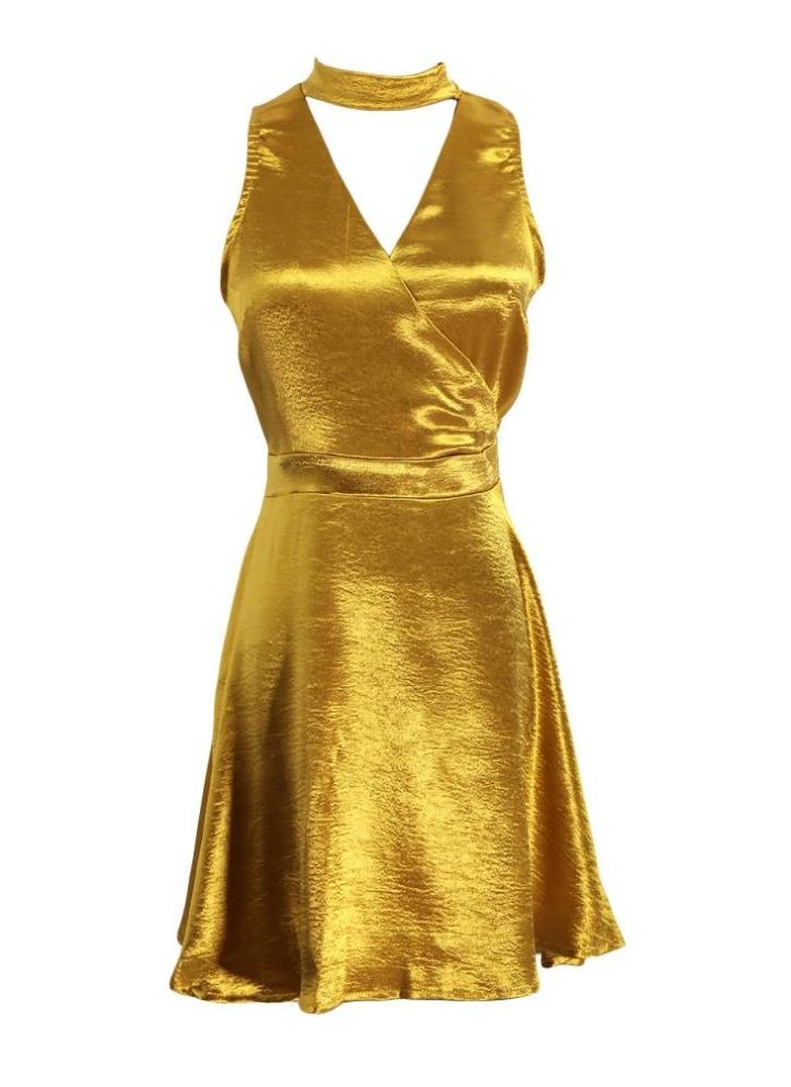 golden m Sexy Frauen-Minikleid mit tiefem V-Ausschnitt ärmel ...