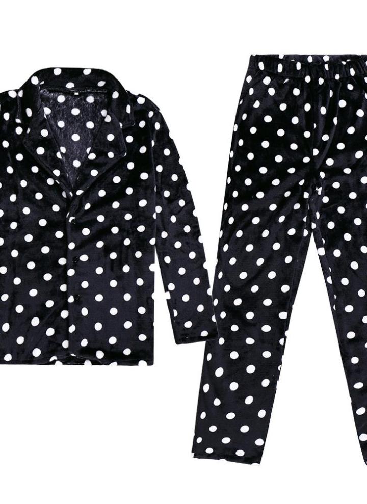 72af881286 Conjuntos de pijama de manga larga con estampado de lunares de hombres