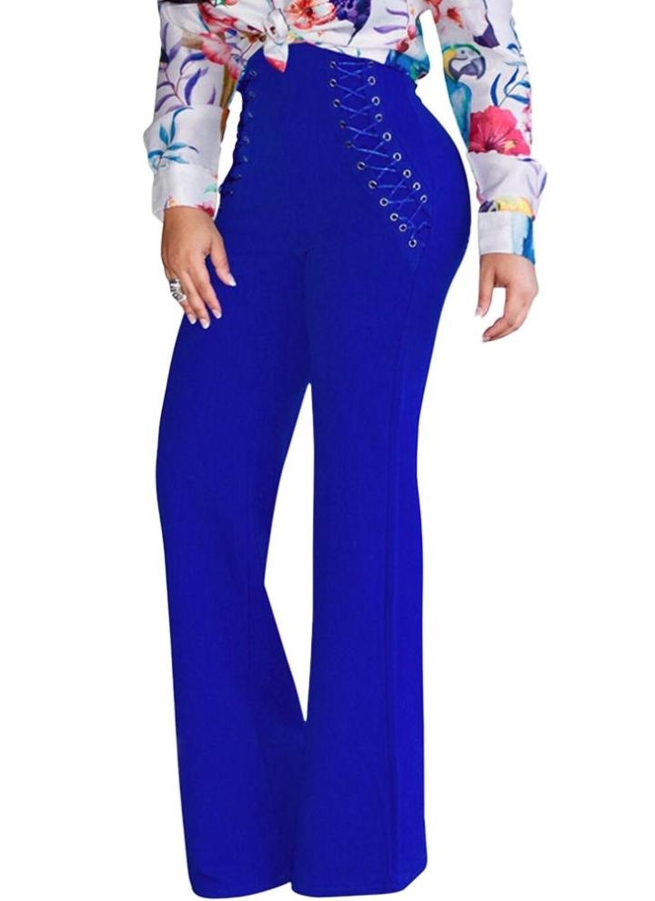 Pantalones anchos de cintura alta Pantalones acampanados bajos de campana  de cintura alta 41d689dd3c8
