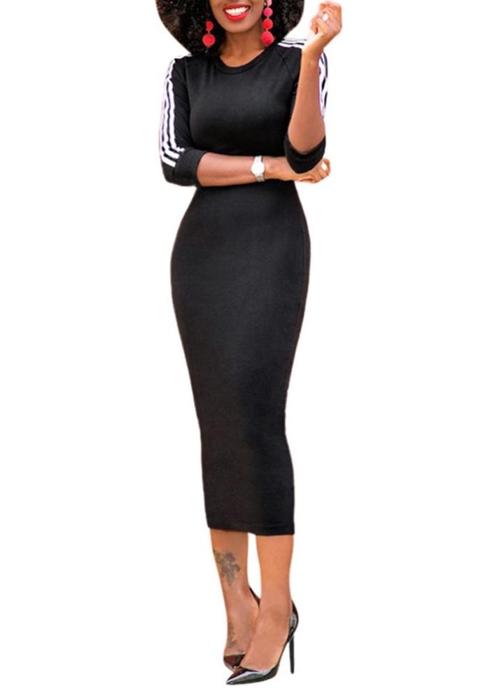 790d409578 Midi Dress Contrast Stripe O-Neck Half Sleeve Bodycon T-Shirt Pencil Dress