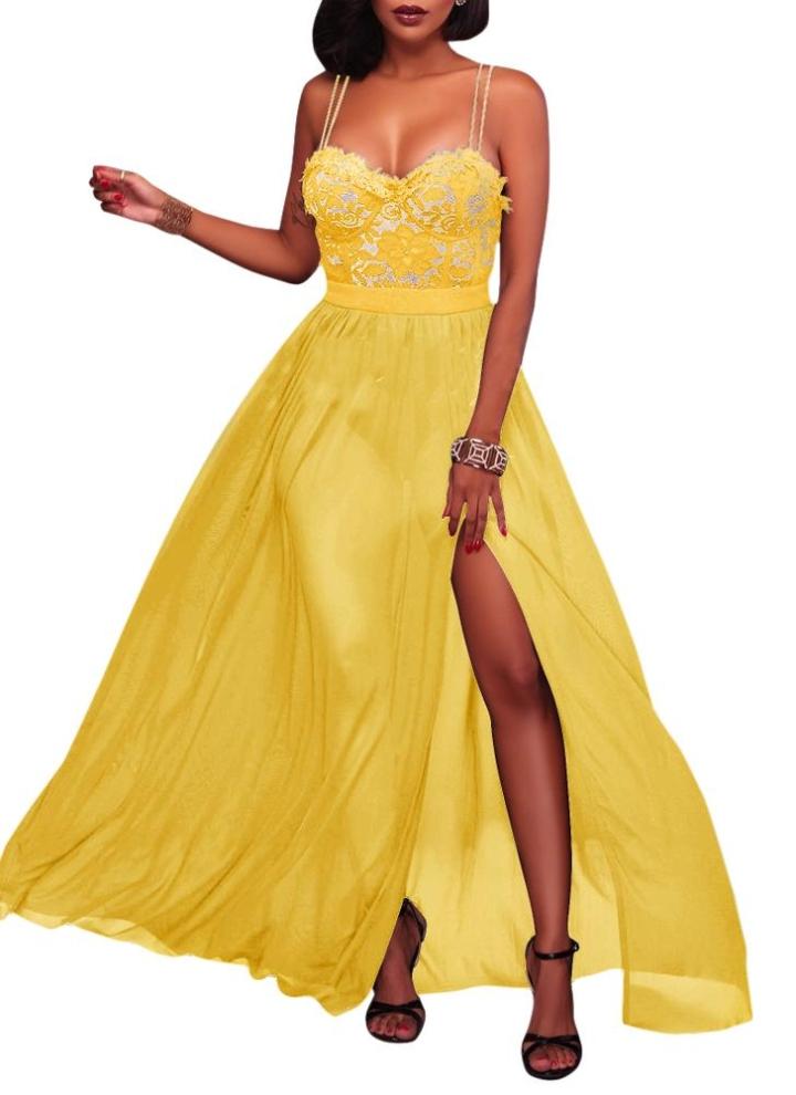 f4bd1ab6d39d giallo l Sexy Maxi Abito Cami Sweetheart Donna - Chicuu