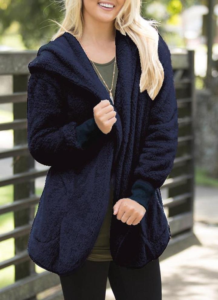 dark blue l Fashion Women Hooded Cardigan Cashmere Solid Warm ...