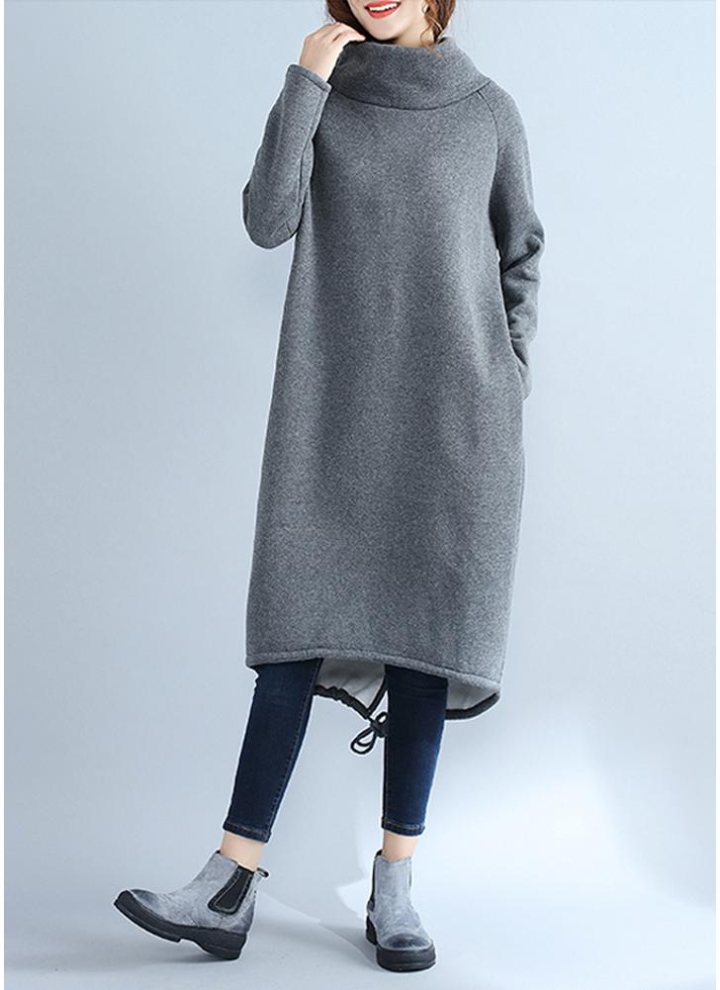 98e9d490f26d grey 2xl Fashion Women Casual Loose Turtleneck Solid Color Fleece Sweater  Dress - Chicuu