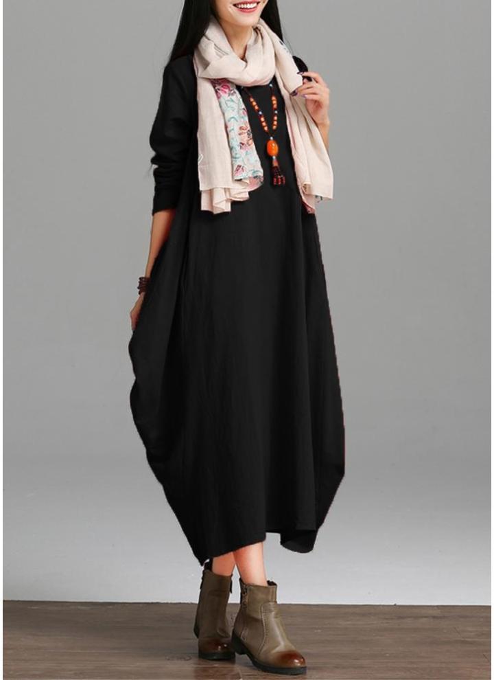 black 2xl Vintage Women Loose Dress Solid Color Pocket Maxi Gown One ...