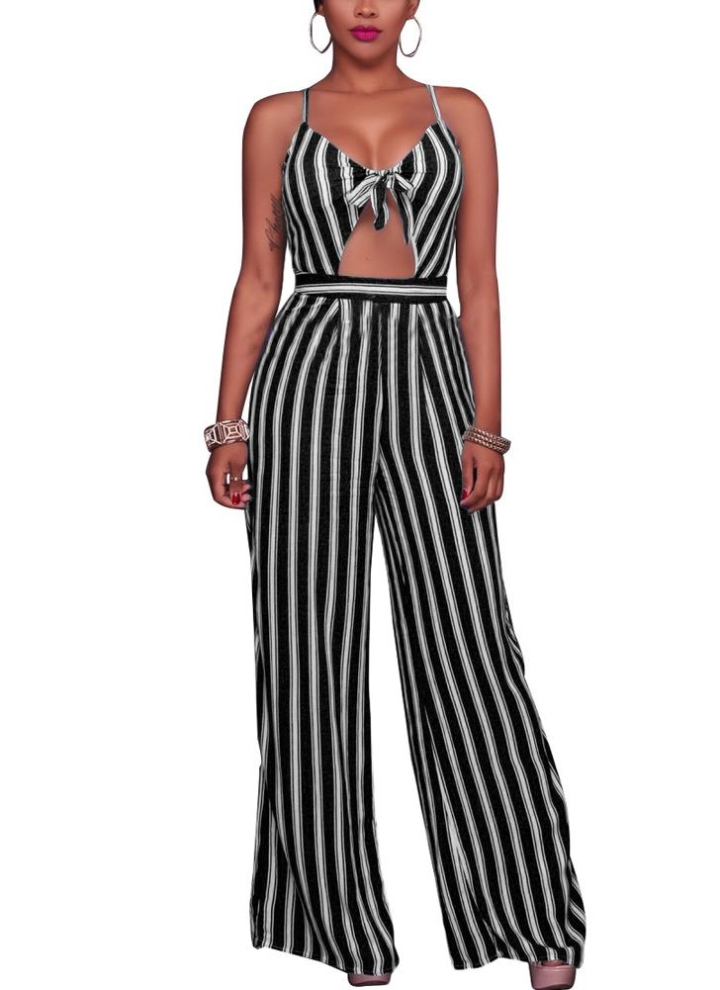 0e2abf91e3c Frauen Spaghetti Strap Striped Lace Up Jumpsuit