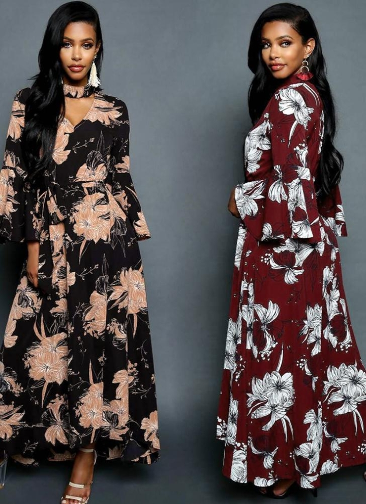 schwarz l Frauen Chiffon Maxi Kleid Blumendruck ausgeschnitten V ...