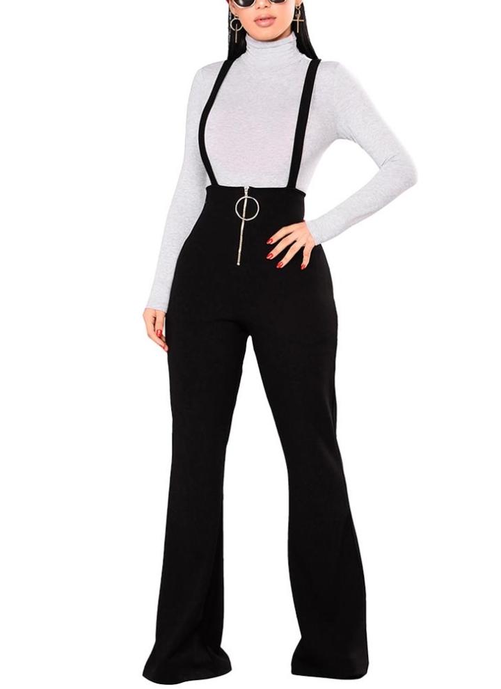 8079e5da13 Women Dungarees Overalls Bell-bottomed High Waist O-ring Zipper Front  Flared Casual Jumpsuits