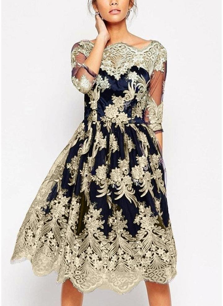 Mezze maniche eleganti mini abiti da sera da sera con ricamo floreale a  maglia vintage 2f58165c675