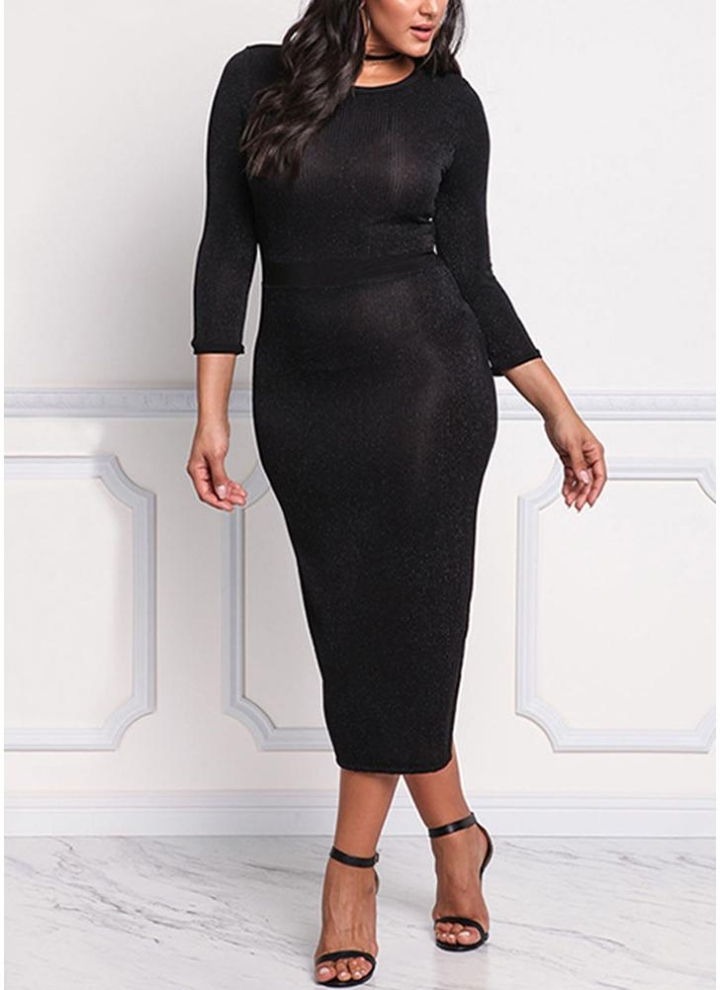 e9a2548fb5a Women Plus Size Bodycon Midi Dress 3 4 Sleeve Shining Slit Back Knitting  Sheath Pencil