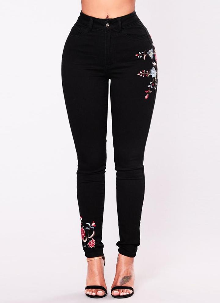 Las mujeres de la vendimia bordan pantalones vaqueros elásticos de cintura  alta con cremallera bolsillos flacos 717dc93cb5d
