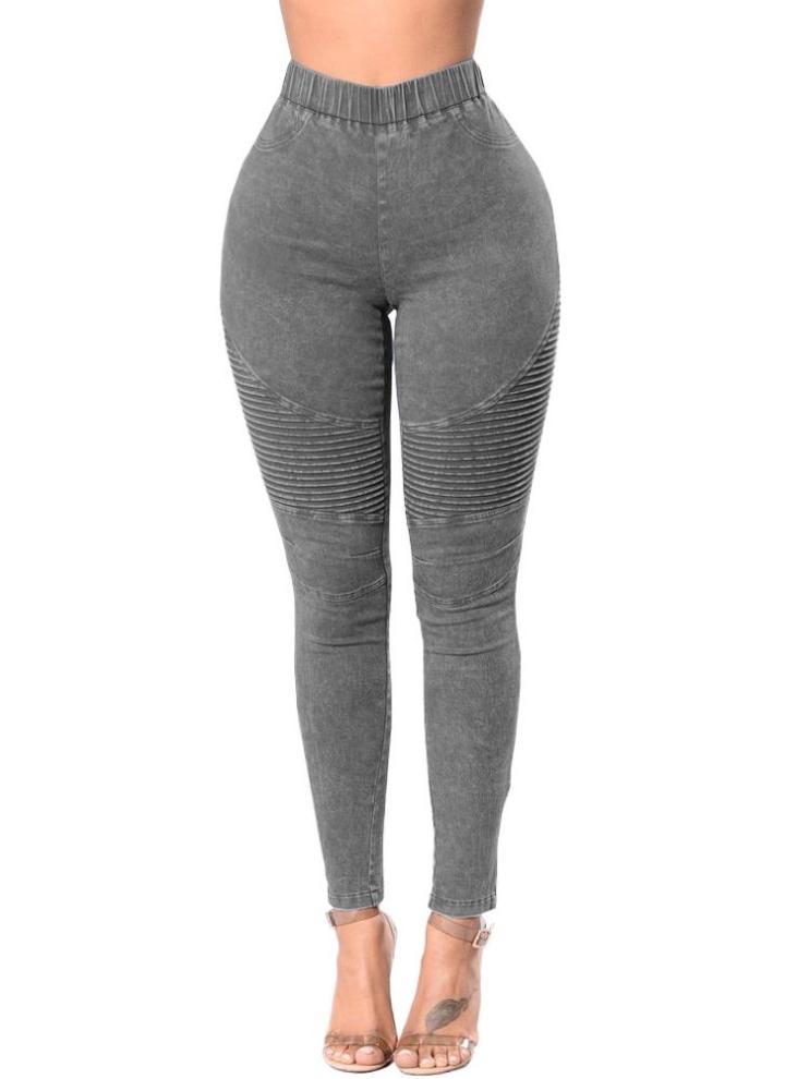 6452243b5528f Femmes Skinny Jeans Denim Taille haute Élastique Lavé Ruché Skinny Crayon  Pantalons Collants Leggings