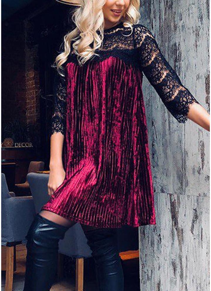 1c2193c29 Terciopelo plisado de encaje de las mujeres atractivas Mini vestido de  empalme del cordón vestido de