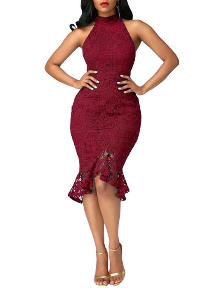 f5791ba8d73 Sexy Women Mermaid Dress Crochet Lace Choker High Neck Sleeveless Slim  Evening Party Fishtail Dress Burgundy
