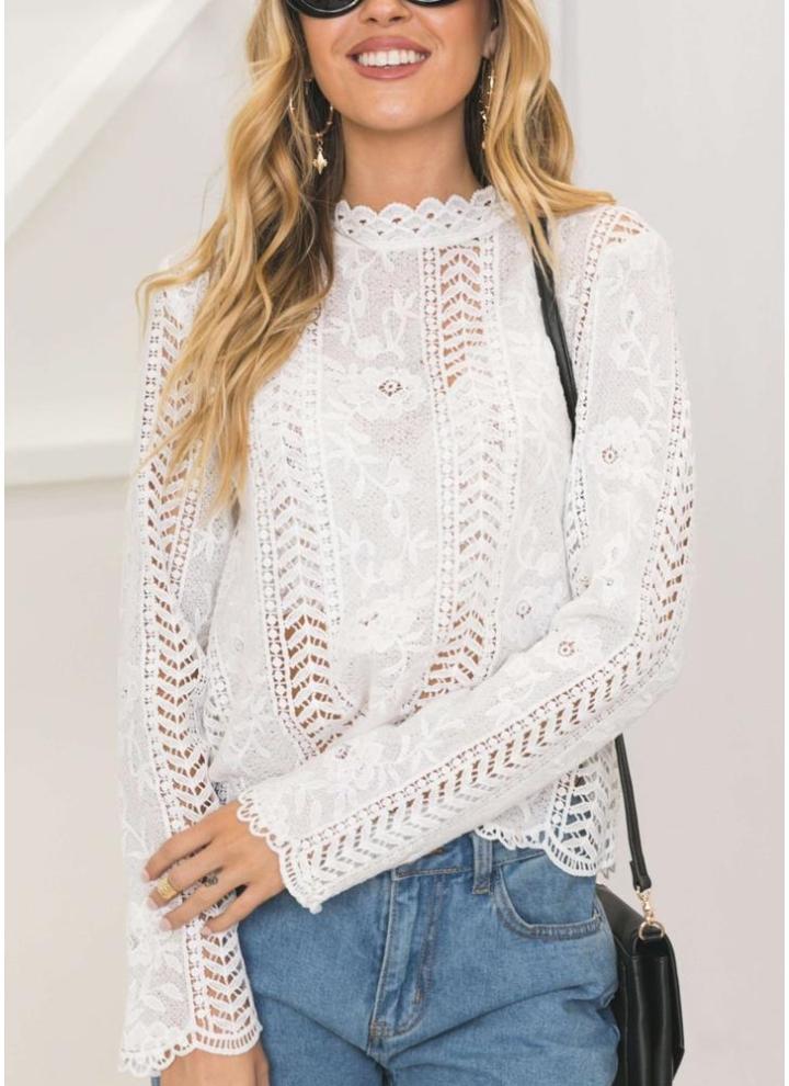 l blanco Blusa de las mujeres Solid floral Crochet Lace cuello alto ...