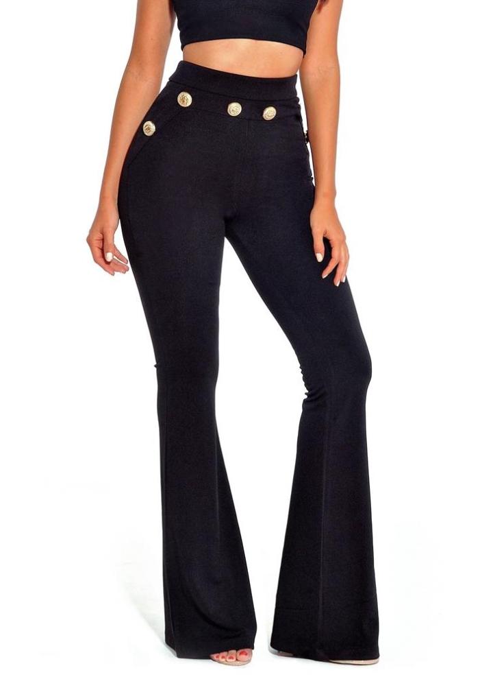 59e73542cf4c Sexy Femmes Bouton Moulante Bell Pantalon Taille Haute Évasé Buttom Jambe  Large Mince Longue Pantalon Occasionnel