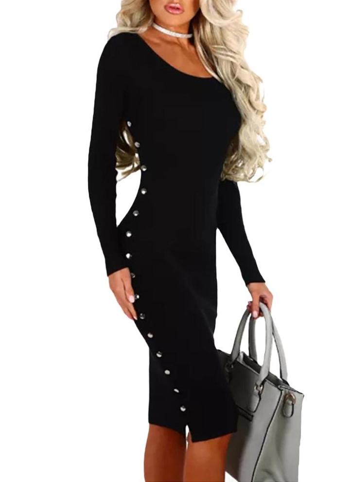 b3fe01f3b16513 schwarz s Herbst Winter Sexy Frauen Bodycon Kleid Niet Solid Langarm Paket  Hip Mini Kleid Schwarz - Chicuu