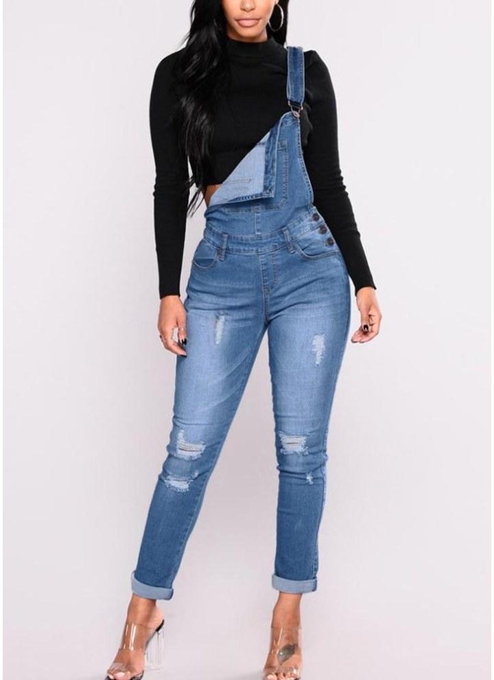 3c2bd45b0d6 Mode Frauen Denim Overalls Zerrissene Stretch Latzhose Hohe Taille Lange  Jeans Zeichnen Hosen Strampler Overall