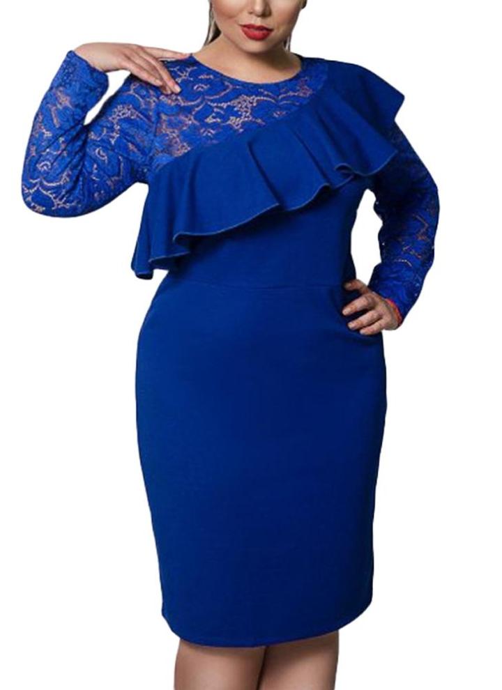 blau 6xl Frauen Plus Size Kleid Spitze Oansatz Bleistift Party Kleid ...