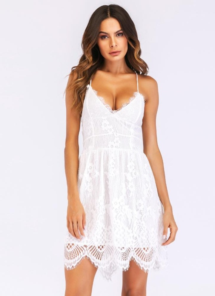 af3a39e1800 white l Sexy Women Spaghetti Strap Lace Mini Dress Deep V Backless Lace Up Clubwear  Party Dress White - Chicuu