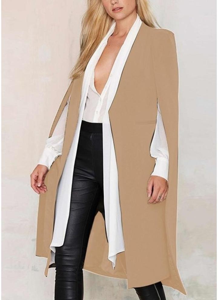 c7252ad2d0495c Herbst Frauen Lange Mantel Blazer Mantel Cape Cardigan Jacke Schlank Büro  OL Anzug Lässig Feste Oberbekleidung