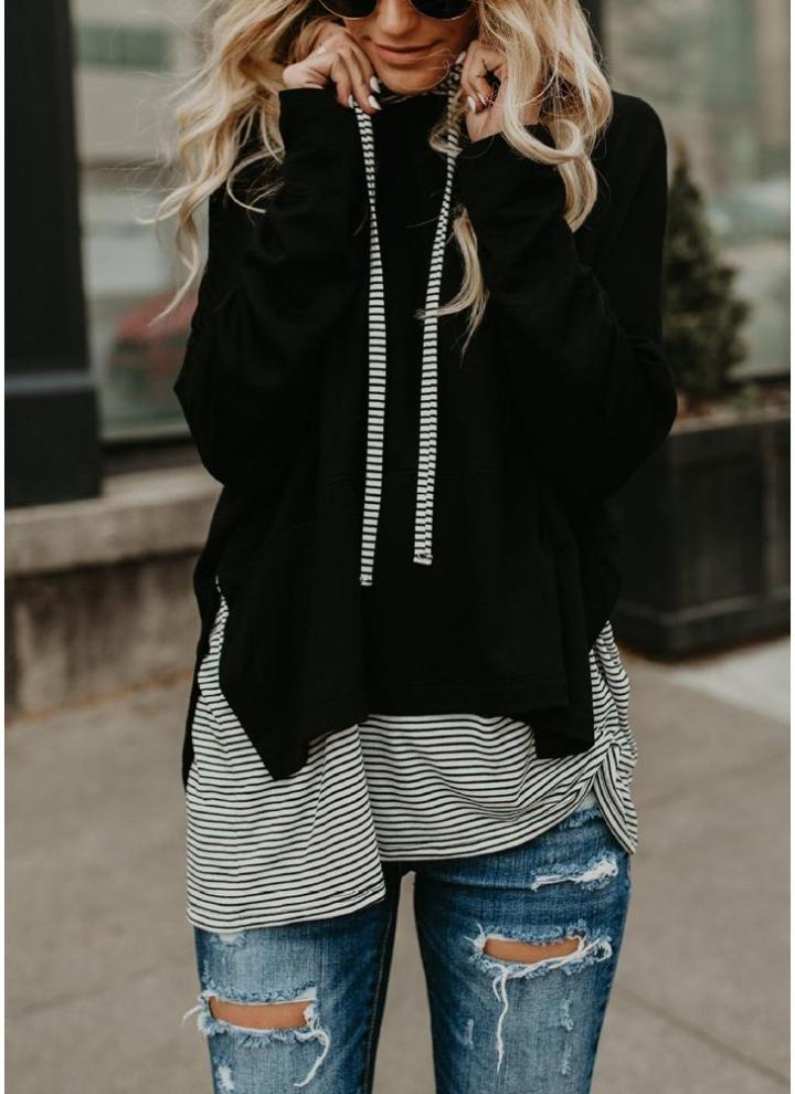 donna da shirt con 2xl a cappuccio con T cappuccio righe Felpa nero Ox1qw8TC