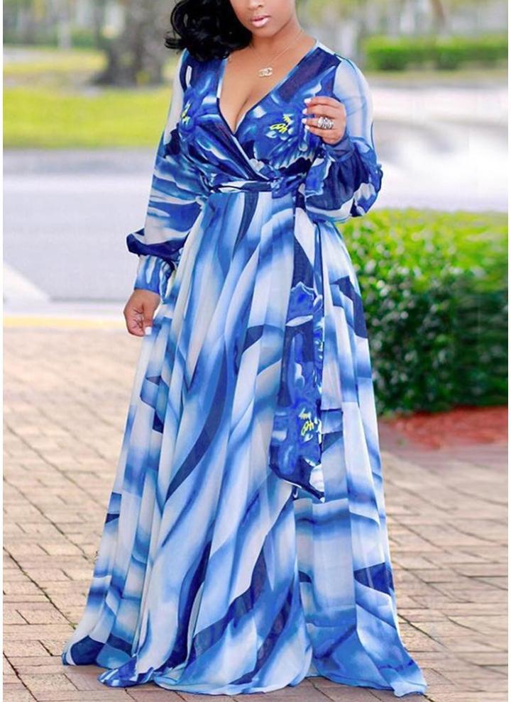 169cc0cebdfcd7 Sexy Frauen Maxi Kleid Farbverlauf Floral Tiefem V-Ausschnitt Langarm Slim  Swing Langes Kleid