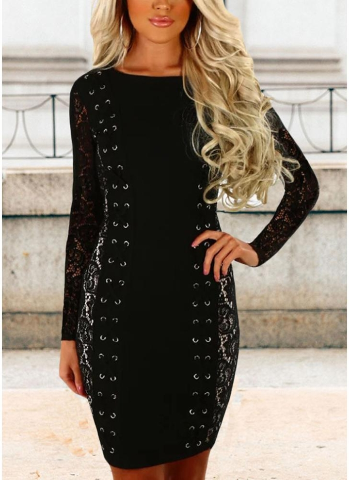 2f205cb91f black m Sexy Women Lace Splice Lace-Up Long Sleeves Slim Mini Bodycon  Dresses - Chicuu