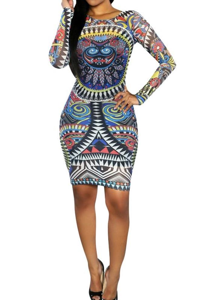 Hot vestito delle donne sexy colorato tatuaggio di Stampa maniche lunghe  Club Azzurri 82ac22ca549