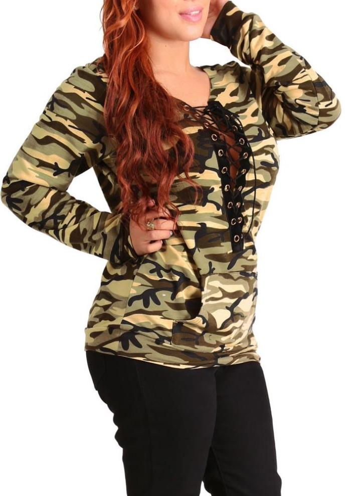 New Sweater Druck mit langen Ärmeln Pullover beiläufigen loser Top Brown /  Armee-Grün