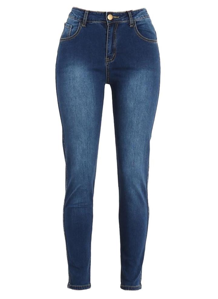 d3639205ab70 Donne hanno lavato i jeans denim cerniera Tasche a vita alta elastica Magro  matita più il