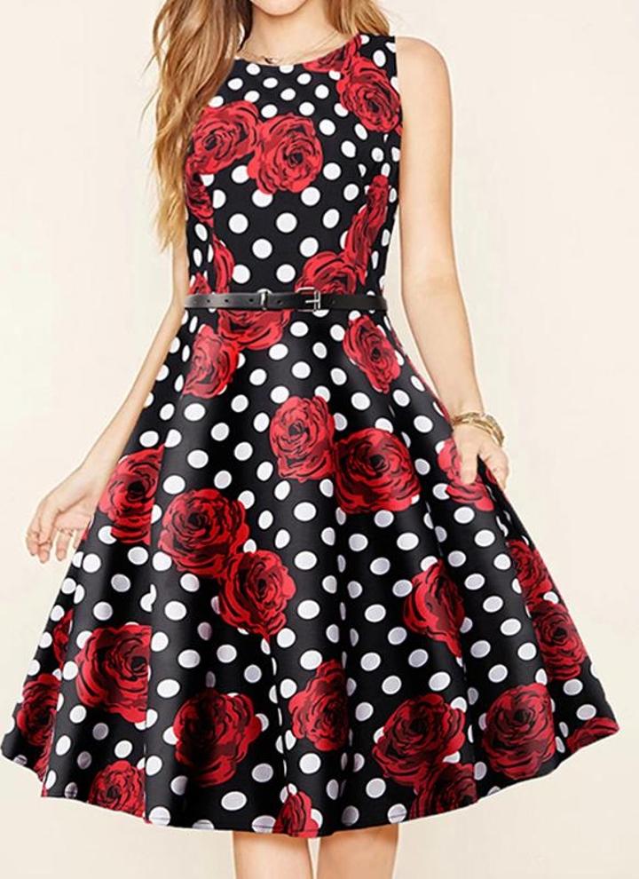 rot l Rose-Punkt-Druck Ärmel Belted dünnes Kleid mit Blumen A-Linie ...