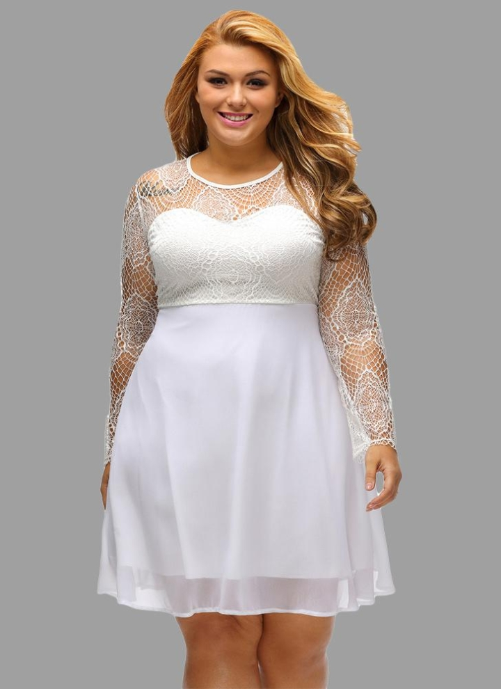 Plus Size Lace Splice Hollow Out Long Sleeve Evening Party Skater Dress