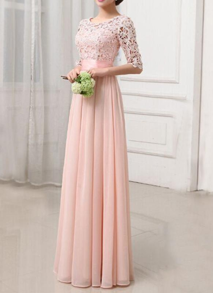 rosa l Spitze Chiffon Halbarm Slim Long Kleid Elegant Abend Party ...