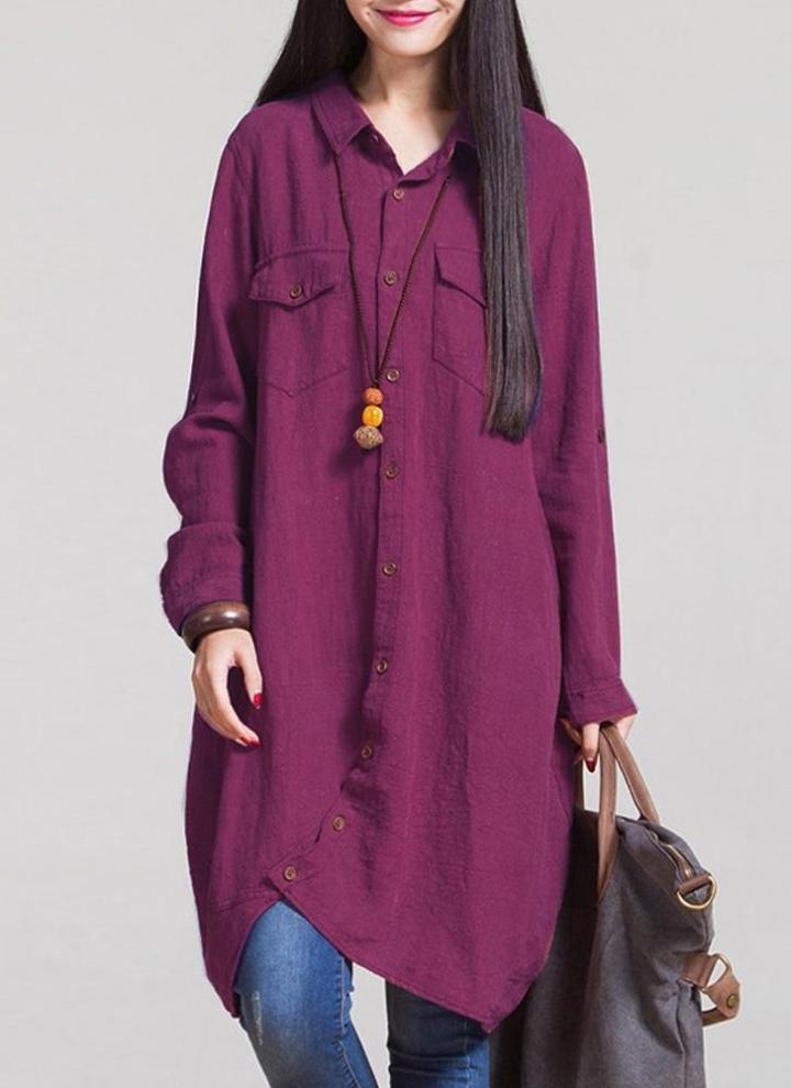 Linen Long Blouse Irregular Hem Buttons Loose Casual Vintage Top Shirt Dress 7717fc1abcac