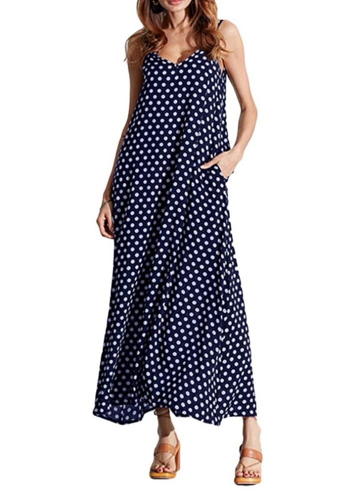 blau 3xl Frauen-Kleid-Polka-Punkt-Druck mit V-Ausschnitt ärmel lose ... 613b1788d3