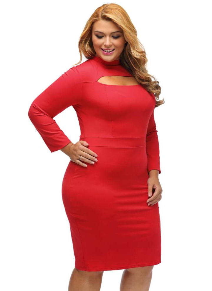 5ea64d8b87 red 3xl Sexy Women Plus Size Bodycon Solid Cut Long Sleeves Elegant Party  Dress - Chicuu