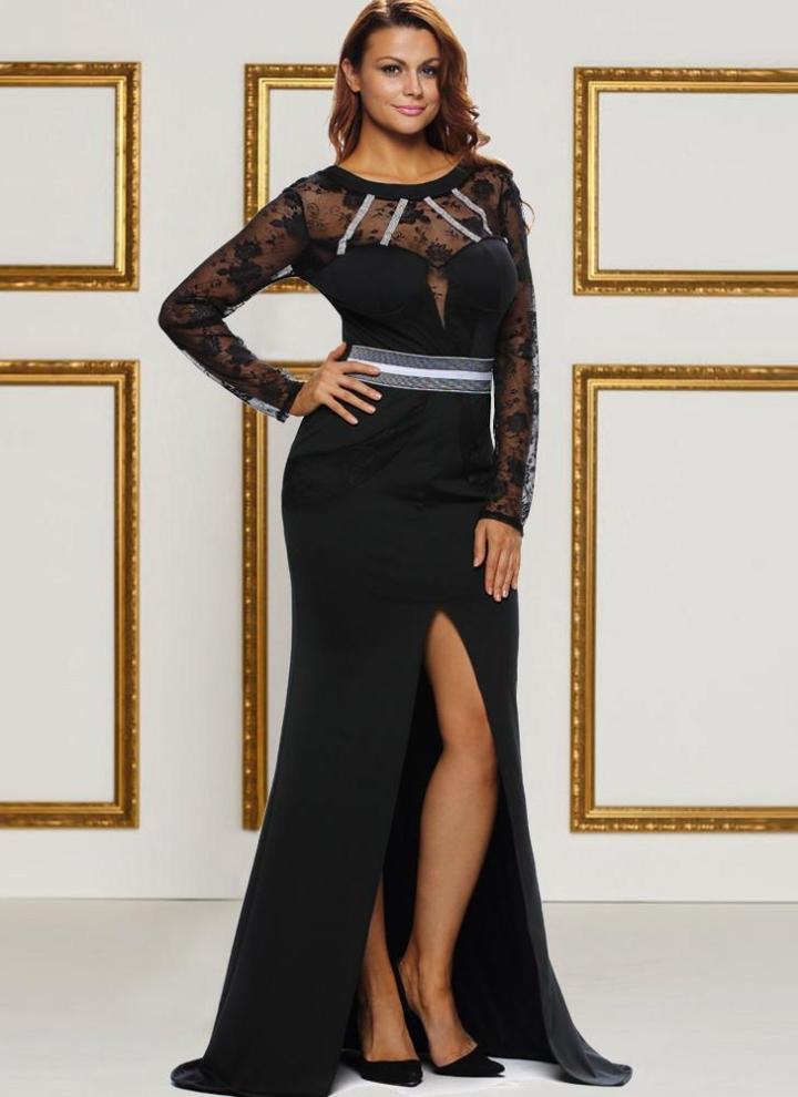 Le donne maxi sexy vestito lungo in pizzo trasparente Scontornabile Split  manica lunga elegante partito Slim b5073398302