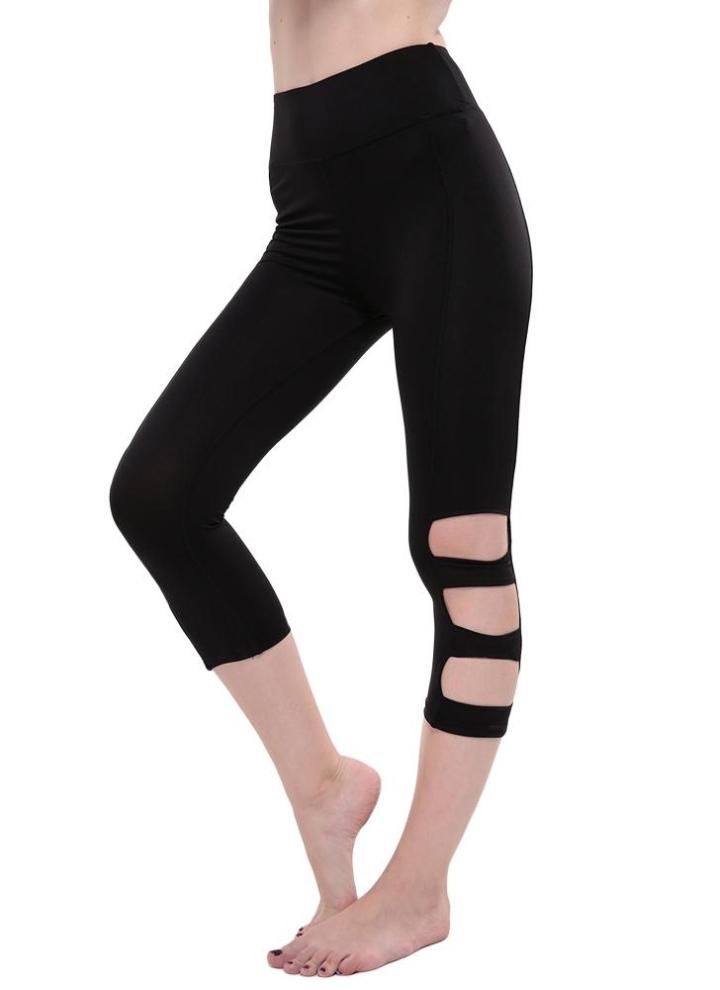 Pantalons Femmes Leggings recadrée Cutout taille haute élastique Sport  Workout Fitness Collants Pantalon noir f110298b069