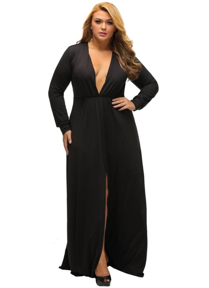 schwarz xxl Frauen Lange Plus Size Kleid Plunge V-Ausschnitt mit ...