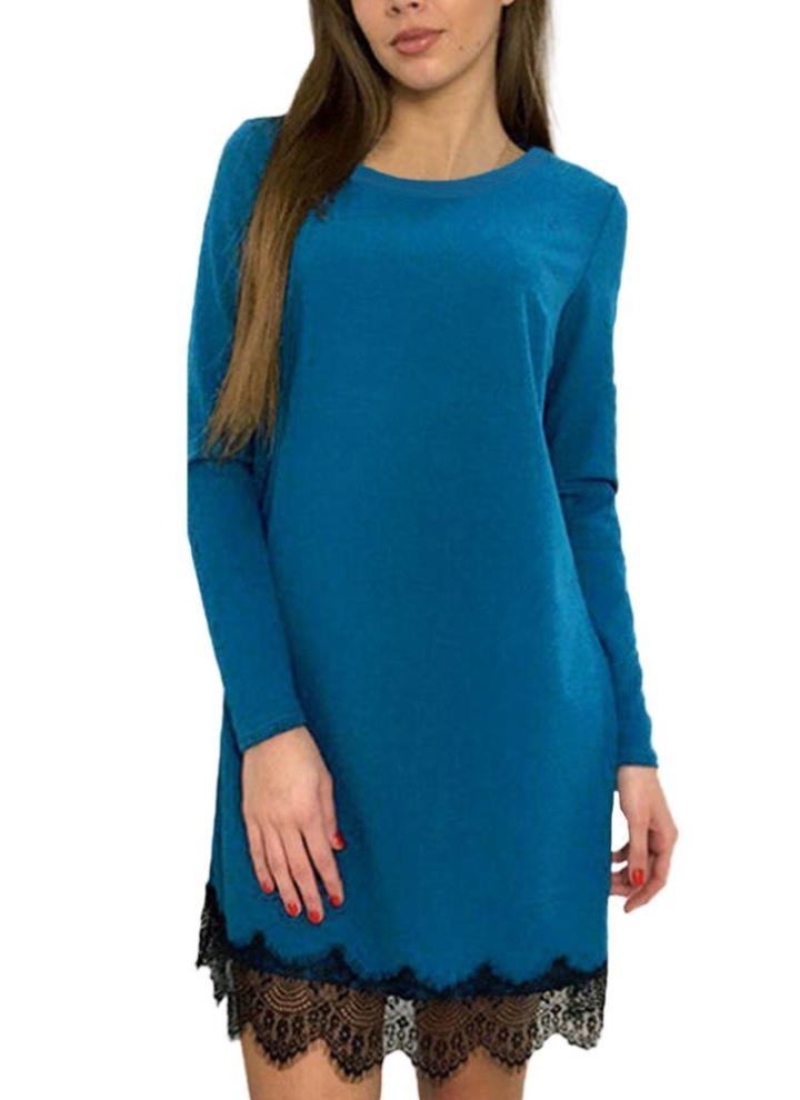 2c592cd68eec Vestito da partito casuale di colore solido del manicotto a maglia del  merletto delle donne di