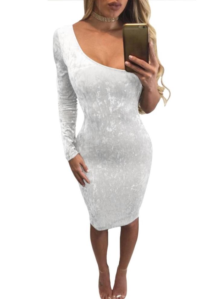 wholesale dealer f36ea 7a9fe Neue reizvolle Frauen Samt-Kleid Schulter-lange Hülse Bodycon  Nachtclub-Party-Mini-Bleistift-Kleid Weiß