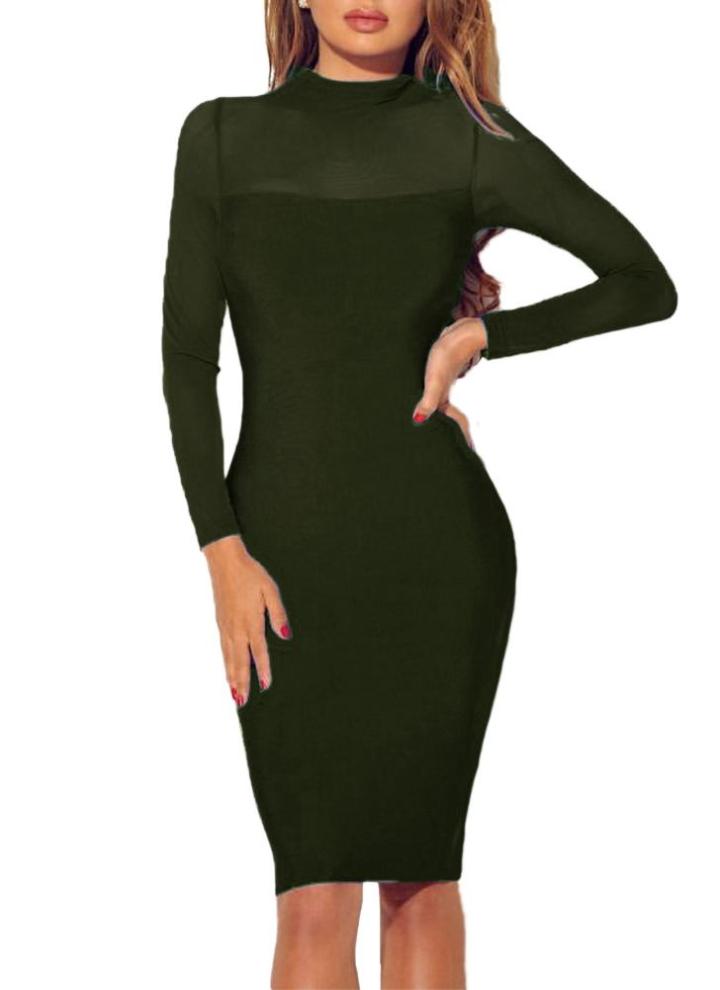 7d95355e3657 Vestito delle donne sexy semi-velato Splice solido di colore stand colletto  a maniche lunghe