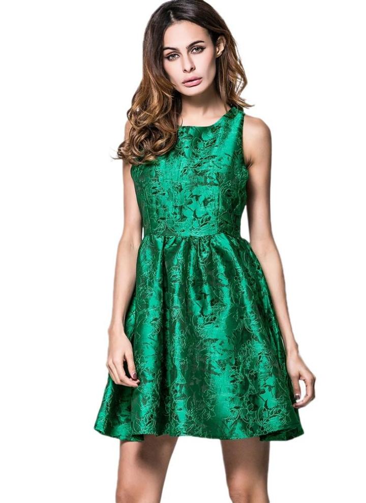sports shoes 25836 a0ba4 Le nuove donne retro vestito Vintage 1950s 60s Rockabilly Stampa  oscillazione partito elegante A-Line Abito Verde