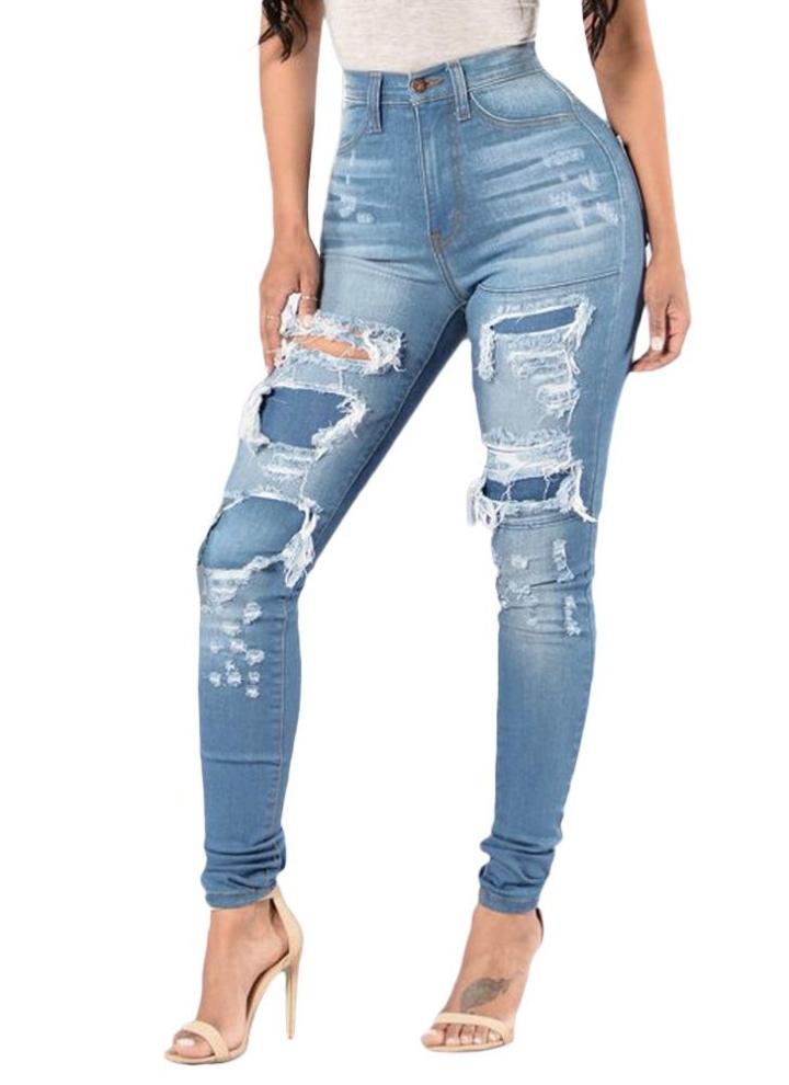 85fd2020c6a1 Donne Denim Skinny jeans lavati pantaloni strappati zona del foro metà di  vita casuale matita sottile