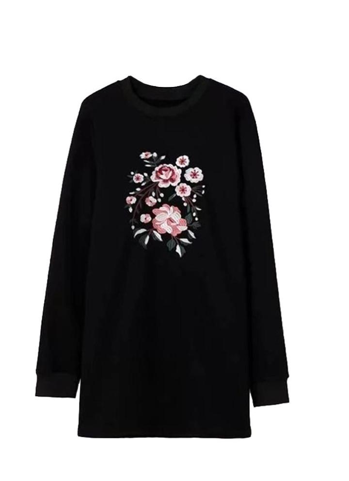 54dc7d9b0 Nuevo de la manera mujeres sueltan el mini vestido floral del bordado de manga  larga recta