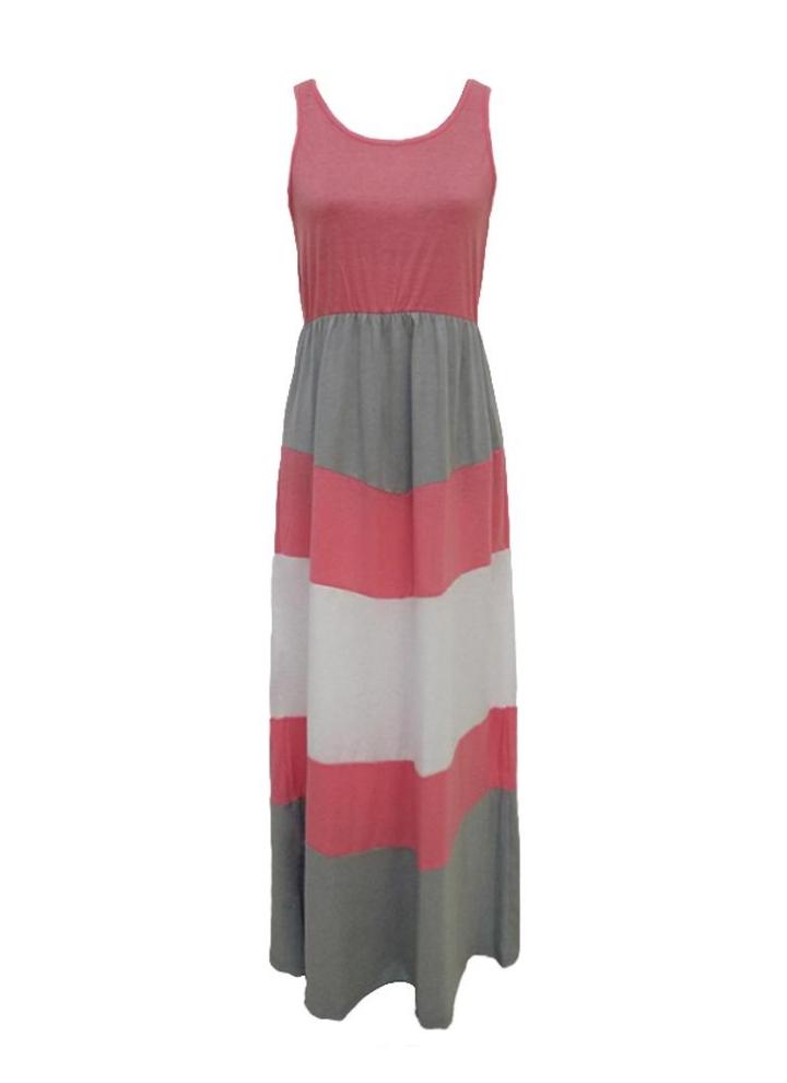 97000faee9e3c9 New Family Frauen Striped langes Kleid Sleeveless Color Block Bohemian  beiläufige Strand-Kleid Sundress