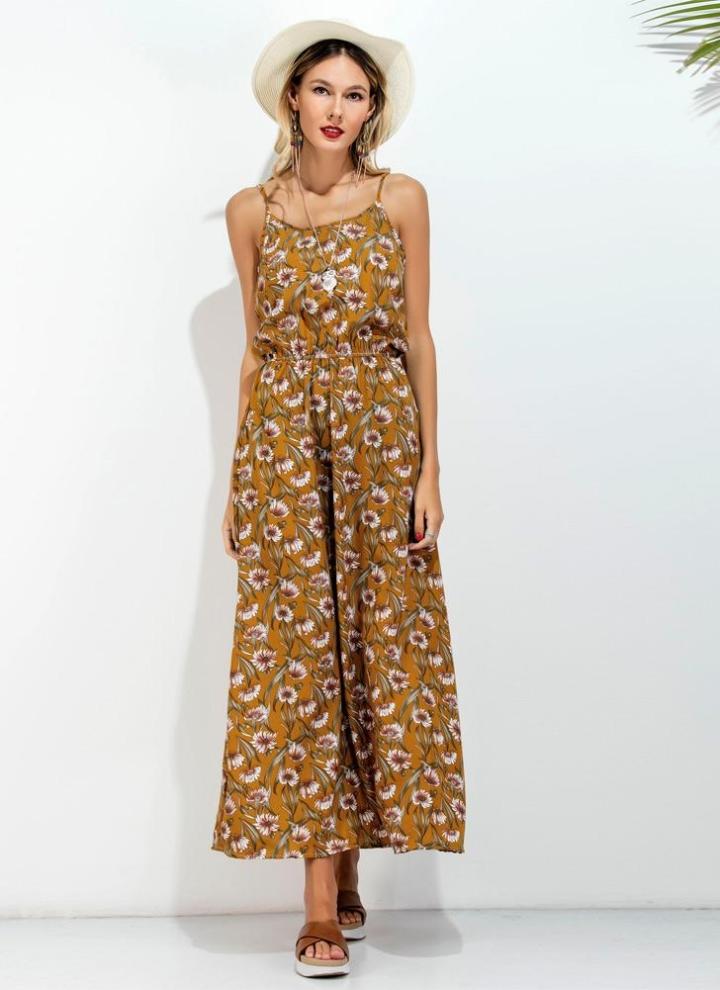 86539a8571773 Nouveaux Femmes Long Slip Robe imprimé floral fines bretelles dos nu  manches Casual Beachwear Maxi jaune Sundress
