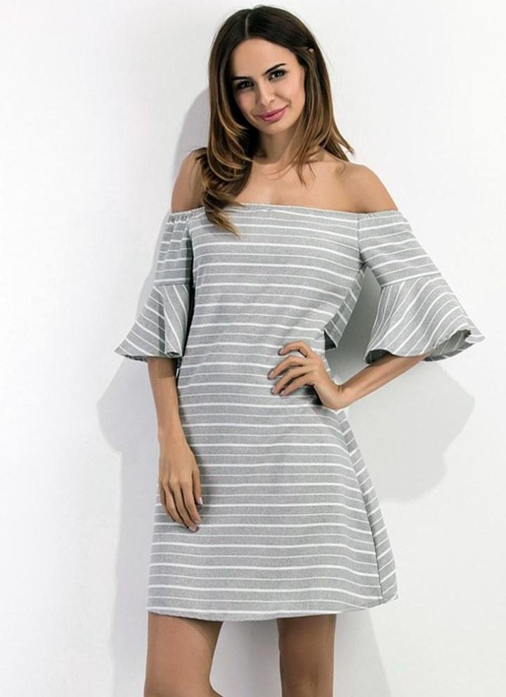 8377b2f6ede8 Sexy Frauen-Minikleid Gestreiftes weg von der Schulter Backless Ausschnitt  Halb Flare Ärmel elegantes beiläufiges