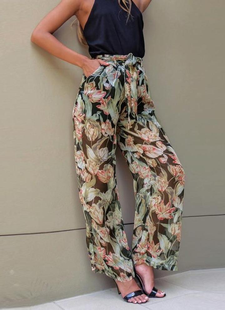 Las nuevas mujeres de la gasa pierna ancha pantalones de flores de  impresión flojas delgadas ceñidos add4c0dd380